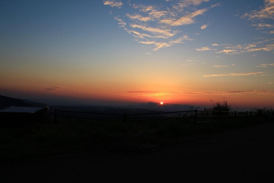 俵山バイパスからの夕陽